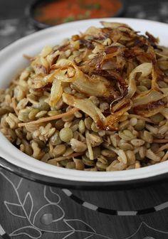 "EGYPTIAN lentils and rice pilaf with tomato sauce -- ""Koshari"""