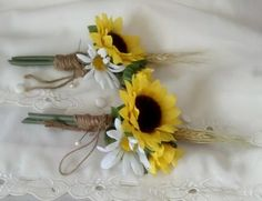 rustic wedding with sunflowers   sunflower_boutonnieres_rustic_chic_wheat_twine_artificial_bridal_flowe ...