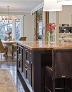 Wood Countertop Example - Lenox Street Kitchen - traditional - Kitchen - Boston - Venegas and Company Painting Kitchen Cabinets, Kitchen Paint, New Kitchen, Kitchen Decor, Kitchen Island, Kitchen Ideas, Kitchen Dining, Kitchen Dresser, Kitchen Layouts