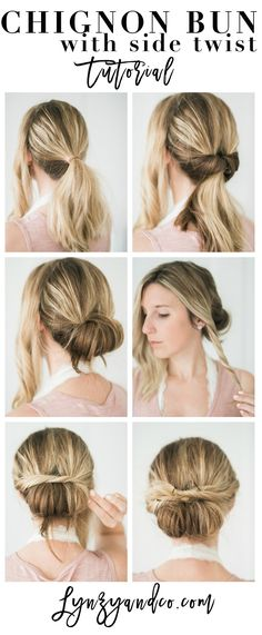 Quick and Easy Hair Tutorial // Chignon Bun with Twist from Lynzy & Co #WholeBlends #ad