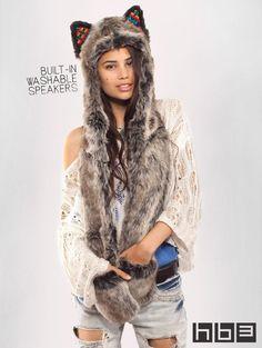 SpiritHoods Official Website   Grey Wolf Warrior HB3 SpiritHood   Faux Fur Grey Wolf Warrior Hood  