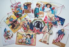 Patriotic 4th of July Gift Tags Ornaments Victorian Handmade Vintage Inspired  - Set of 12 Package 1 #EasyPin