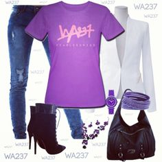 Lookbook Purple and White Passion for women with wa237 : www.weare237.com #fashion #style #stylish #love #TagsForLikes #me #cute #photooftheday #nails #hair #beauty #beautiful #instagood #instafashion #pretty #girly #pink #girl #girls #eyes #model #dress #skirt #shoes #heels #styles #outfit #purse #jewelry #shopping