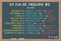 """FALSE FRIENDS (fałszywi przyjaciele) to słówka, które brzmią znajomo i przypominają nam polskie terminy, ale w angielskim mają zupełnie inne znaczenie. Użycie niewłaściwego odpowiednika może doprowadzić do niezrozumienia lub, co gorsza, do nieporozumienia. Tutaj zestaw nr 2 (11-20). Sprawdź, czy poprawnie używasz angielskich odpowiedników tych 10 polskich słów. Pierwsze 10 """"fałszywych przyjaciół"""" na www.loip.pl - Loip Angielski i Polski Online English Words, English Language, False Friends, Short Novels, Perfect English, Teachers Pet, Teaching Aids, Education English, English Vocabulary"""