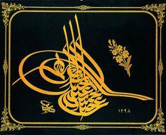 Executed by Sami Efendi - Tuğra (tughra Ottoman Turkish: طغرا tuğrâ is a calligraphic monogram.) of Sultan Abdülhamid II (r. Persian Calligraphy, Islamic Calligraphy, Calligraphy Art, Calligraphy Lessons, Google Art Project, Arabic Art, Arts Ed, Islamic Art, Art Google