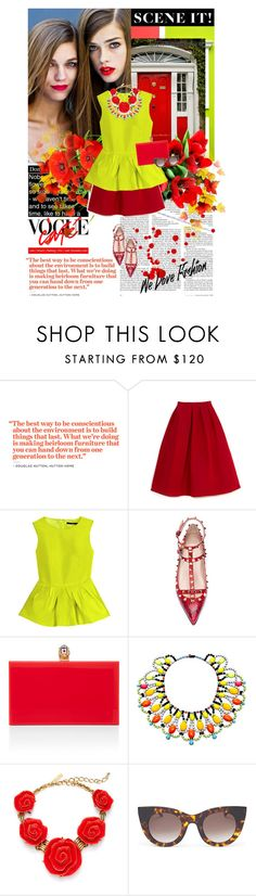 """""""The best way.."""" by ginevra-18 ❤ liked on Polyvore featuring TIBI, Valentino, Charlotte Olympia, Tom Binns, Oscar de la Renta, Thierry Lasry, neon jewelry, statement necklaces, box clutches and studded flats"""