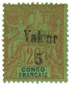 French Congo on Red on Green, 1900 stamp Rare Stamps, Vintage Stamps, Congo, Stamp Collection Value, Price Of Stamps, Most Expensive, France, Stamp Collecting, My Stamp