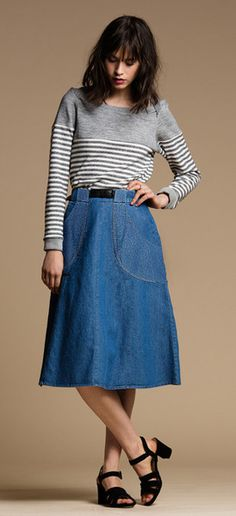We wanted to ultimate throw back 70's skirt to wear everyday and the Carrie Skirt is the answer! Made form washed denim, this midi skirt features thick belt loo