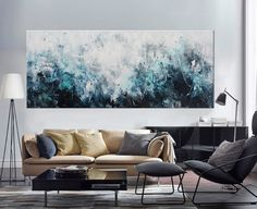 painting Large Abstract Painting hidden by ElenasArtStudio on Etsy Canvas Wall Art, Extra Large Art, Seascape Print, Painting, Blue Art, Oil Painting Abstract, Abstract, Large Abstract Painting, Long Painting