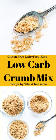 Low Carb Gluten- Free Crumb Mix Gluten Free Bread Crumbs, Chocolate Treats, Eating Plans, Quick Easy Meals, Low Carb Recipes, A Food, Food Processor Recipes, Dairy Free, Low Carb