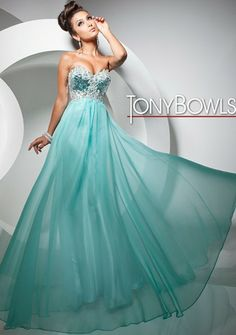A strapless, empire waisted chiffon prom dress, with jewelled bodice and softly gathered skirt, by Tony Bowls Paris.