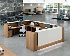 Offers modern, contemporary and custom reception desks, receptionist desks and reception furniture for contemporary offices as well as Contemporary and Modern Office Furniture. Modern Office Design, Contemporary Office, Office Interior Design, Office Interiors, Modern Offices, Office Designs, Office Ideas, Modern Interior, White Reception Desk