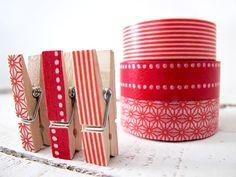 Decorative washi tape clothespins