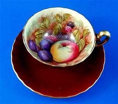 Deep Red Signed D Jones Fruit Center Aynsley Tea Cup and Saucer Set