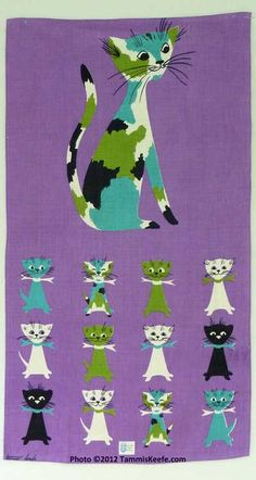Cats vintage linen tea towel by Tammis Keefe