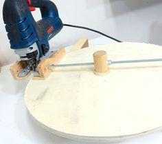 Teds Wood Working - Jax Design: Jigsaw circle cutting jig Get A Lifetime Of Project Ideas & Inspiration! Woodworking Jigsaw, Woodworking Quotes, Woodworking Techniques, Woodworking Shop, Woodworking Plans, Woodworking Furniture, Intarsia Woodworking, Popular Woodworking, Workbench Plans