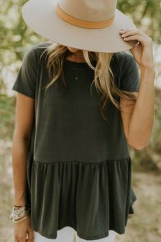 Charcoal Short Sleeve Peplum | ROOLEE