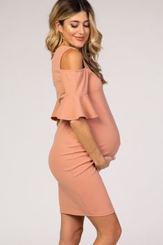 Mauve Cold Shoulder Fitted Maternity Dress