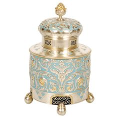 Beautiful Fabergé silver, parcel-gilt, and enamel tea caddy, Moscow, 1908-1917.