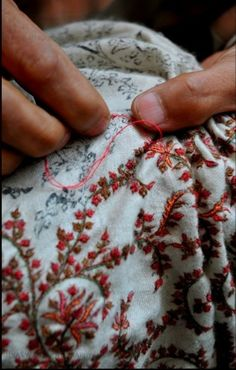 Embroidered over print - We used to have stitchery classes  twice a week @ the Sisters' school - Wonderful days