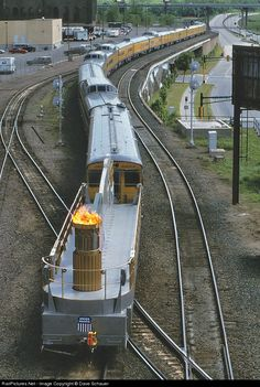 The real neat aspect of UP's Atlanta Olympic train was the flame car that brought of the rear.