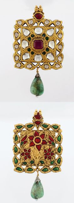 A GEMSET PENDANT          Designed as a square-shaped plaque, centering on an octagonal ruby, weighing approximately 2.30 carats, with a surround kundan-set with table-cut 'polki' diamonds and emeralds, the engraved reverse accented with a fine floral design in red and green enamel, with a total diamond weight of approximately 6.50 carats, and a total emerald weight of approximately 10.00 carats, mounted in gold.