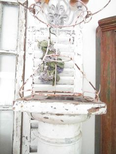 Vintage   shabby chic chippy painted pink by Vintagewhitecottage, $99.00