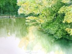 Watercolor Scenery, Japanese Watercolor, Watercolor Water, Watercolor Landscape Paintings, Watercolor Pictures, Watercolor Plants, Watercolor Artists, Japanese Art Styles, But Is It Art