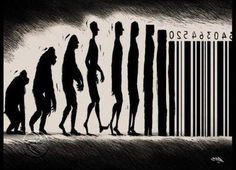 In todays world, we are viewed by companies as numbers. This darker image shows the progress of man and what he is seen as to companies. consumerism  (Observations)
