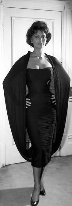 Sophia Loren vintage fashion style photo print ad model movie star icon tight black shift dress strapless wiggle cocktail knee unique design attached bubble back shoulder wrap silk 50s 1950s glam