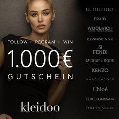 Die neue Saison steht in den Startlöchern und du hast noch nichts zum anziehen? Da haben wir für dich genau das Richtige: @kleidoo verlost einen 1.000€ Shopping-Gutschein für dich!  Die Verlosung endet am 30.09.2015, wir wünschen dir viel Glück.♥ Alles was du dafür machen musst: 1. Folge @kleidoo auf Instagram 2. Regram den Post auf deinem Instagram-Account mit dem Hashtag #kleidoo  #fashion #shop #gewinnspiel #brands #luxury #gutschein #shoppinggutschein #potd #follow #regram #win
