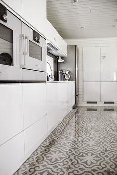 moroccan concrete tiles floor, scandinavian interior, white kitchen