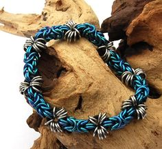 Blue chainmaille stretchy bracelet in rubber by DesignsbyCaz