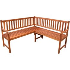 5 Seater Outdoor Corner Bench Acasia Wood Natural Colour Lawn Garden Furniture