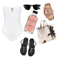 """To the beach "" by denitsaa on Polyvore featuring Ray-Ban, Melissa Odabash, Bobbi Brown Cosmetics, Lucien Piccard, Dezso by Sara Beltrán, Havaianas, women's clothing, women, female and woman"