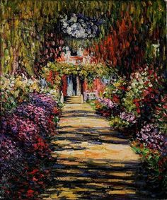 claude monet garden path at giverny painting & claude monet garden ...