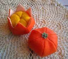Felt food Tangerine set eco friendly childrens pretend play food for toy kitchen. $12.00, via Etsy.