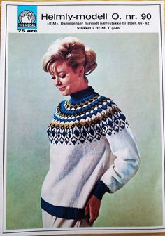 Svanedal Rim 90 Norwegian Knitting, Old Magazines, Vintage Knitting, Vintage Sweaters, Warm And Cozy, Sweater Cardigan, Knitting Patterns, Pullover, Wool