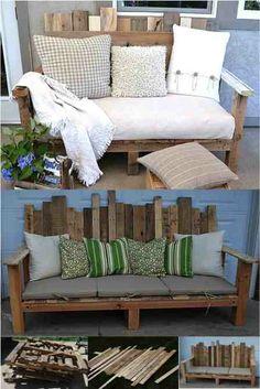 Fantastic DIY Outdoor Pallet Sofa ...............FOLLOW DIY FUN IDEAS ..................BEST DIY SITE EVER!!!