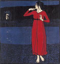 Erwin Lang, Mädchen im roten Kleid (Grete Wiesenthal) / Girl in a Red Dress,  © Kunstsammlung und Archiv der Universität für angewandte Kunst Wien #KunstFürAlle