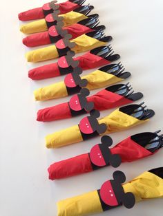Mickey Mouse Birthday Party Cutlery, wrapped utensils, party supplies by AlishaKayDesigns on Etsy https://www.etsy.com/listing/175890152/mickey-mouse-birthday-party-cutlery