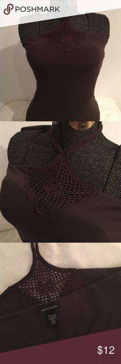 "Moda international brown top Brown Moda international bra top, like new only once worn, top part crochet, ""halter neck"" crochet straps, 95 % cotton, 5% spandex Moda International Tops Tank Tops"