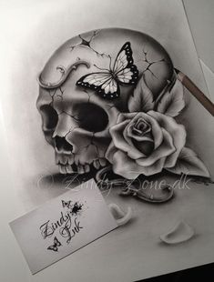 Beauty and Decay Skull Tattoo Design by Zindy S. D. Nielsen #beautytatoos