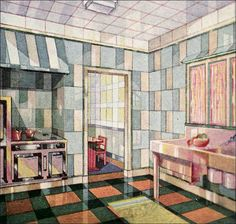 Deco style kitchens were a relative rarity in 1929 middle class magazines like American Home. Vitrolite was a notable exception. 1920s Home Decor, 1920s Interior Design, Vintage Interiors, Deco Interiors, Cartoon Background, Craftsman Bungalows, Tile Art, Tiles, Retro Home