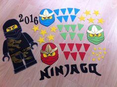 """Bastelset für eine Schultüte.Es ist alles dabei was auf dem Bild zu sehen ist.1x Ninjago Schwarz groß.3 Ninjago Köpfe (Rot, Blau, Grün)Schriftzug """"…"""