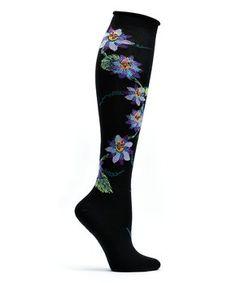 Black Passionvine Apothecary Florals Knee-High Socks