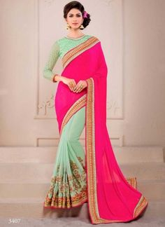 Magical Magenta Turquoise Embroidery Work Georgette Chiffon Wedding Sarees http://www.angelnx.com/Sarees/Wedding-Sarees