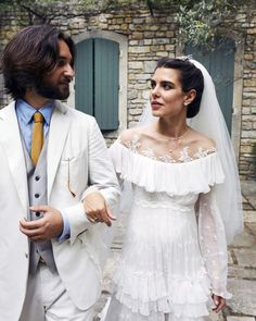 Charlotte Casiraghi—who is Princess Grace's granddaughter; daughter of Caroline, Princess of Hanover; and in line to the Monegasque throne—wed film producer Dimitri Rassam in a second religious service, held at a private reception in Provence Charlotte Casiraghi, Royal Wedding Gowns, Royal Weddings, Grace Kelly Granddaughter, Albert Von Monaco, Patricia Kelly, Beatrice Borromeo, Religious Wedding, Religious Ceremony