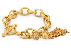 20 Striking Rings And Bracelets - TASSEL LINK BRACELET, GOLD, $99, LULU AVENUE DESIGNS BY JUDEFRANCES