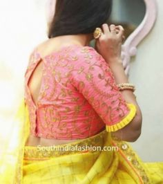 Pattu saree blouse designs 2019 silk saree blouse designs catalogue Pattu Saree Blouse Designs, Fancy Blouse Designs, Bridal Blouse Designs, Latest Blouse Neck Designs, Blouse Designs Catalogue, Stylish Blouse Design, Designer Blouse Patterns, Blouse Models, Hand Designs